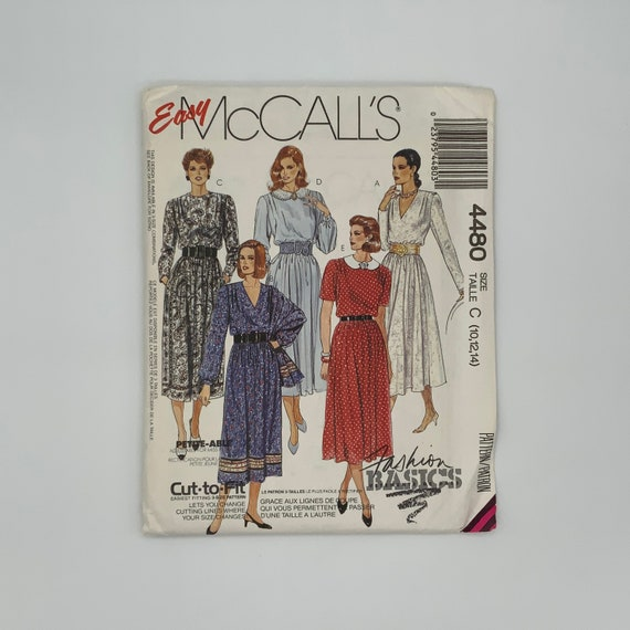 McCall's 4480 (1989) Dress with Neckline Variations - Size 10-14 Bust 32.5-36 - Vintage Uncut Sewing Pattern