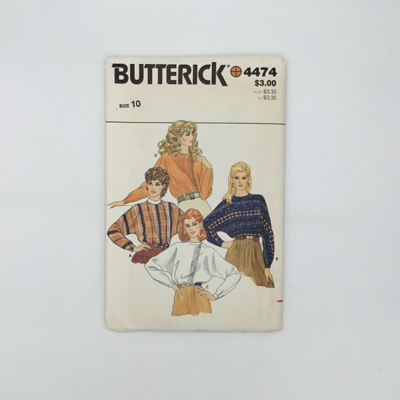 Butterick 4474 Blouse with Neckline Variations - Size 10 Bust 32.5 - Vintage Uncut Sewing Pattern