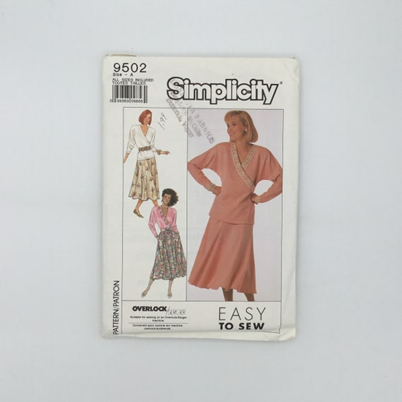 Simplicity 9502 (1989) Top and Skirt - Size 10-26 Bust 32.5-48 - Vintage Uncut Sewing Pattern