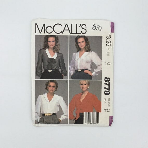 McCall's 8778 (1983) Blouse with Neckline Variations - Size 12 Bust 34 - Vintage Uncut Sewing Pattern