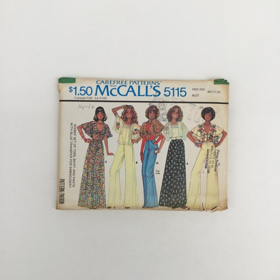 McCall's 5115 (1976) Top, Skirt, and Pants - Size 14-16 Bust 36-38 - Vintage Uncut Sewing Pattern