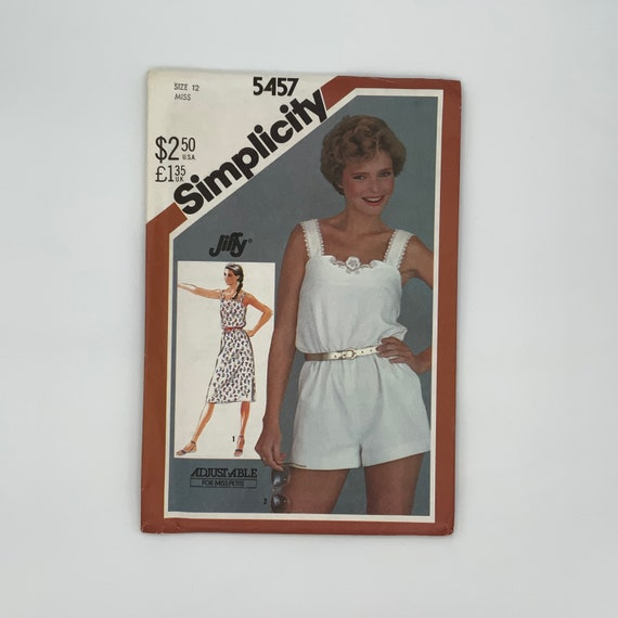 Simplicity 5457 (1982) Sundress and Romper - Size 12 Bust 34 - Vintage Uncut Sewing Pattern