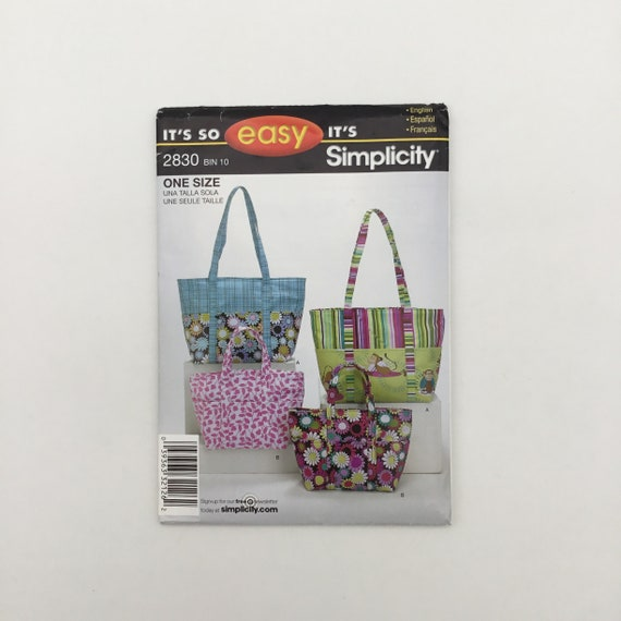 Simplicity 2830 (2008) Tote Bags in Two Sizes - Uncut Sewing Pattern