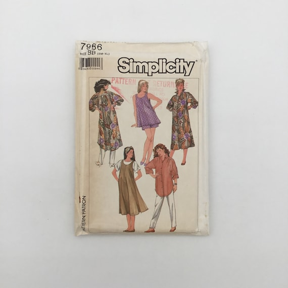 Simplicity 7966 (1987) Maternity Dress, Shirt, Jumper, Pants, and Shorts - Size S-XL Bust 32.5-46 - Vintage Uncut Sewing Pattern