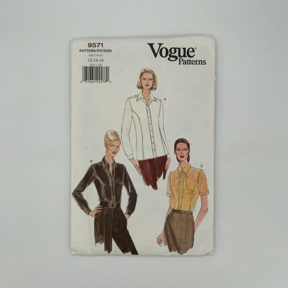 Vogue 9571 (1996) Blouse with Sleeve Variations - Size 12-16 Bust 34-38 - Vintage Uncut Sewing Pattern