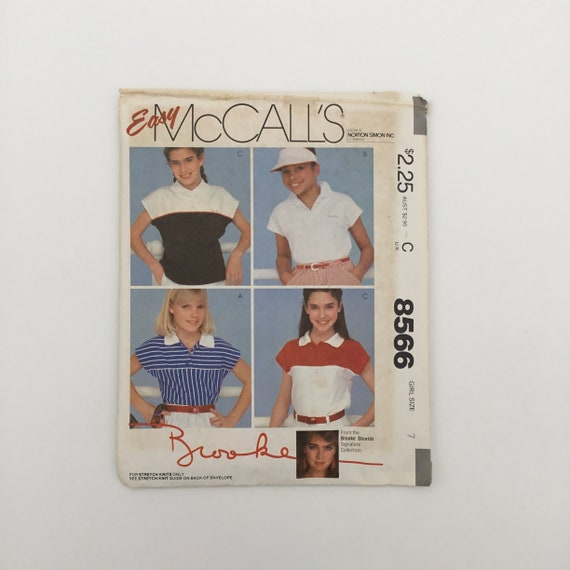 McCall's 8566 (1983) Brooke Shields Tops - Multiple Sizes Available - Vintage Uncut Sewing Pattern
