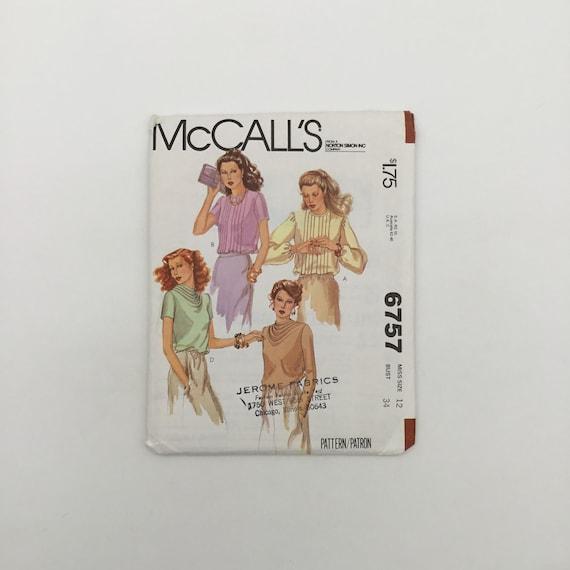 McCall's 6757 (1979) Blouse with Neckline, Sleeve, and Style Variations - Size 12 Bust 34 - Vintage Uncut Sewing Pattern