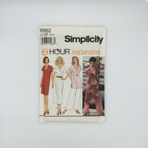 Simplicity 8962 (1994) Dress, Tunic, and Pants - Size 18-24 Bust 40-46 - Vintage Uncut Sewing Pattern