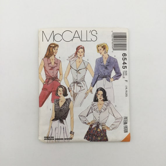 McCall's 6545 (1993) Shirts with Neckline and Sleeve Variations - Size 16-20 Bust 38-42 - Vintage Uncut Sewing Pattern