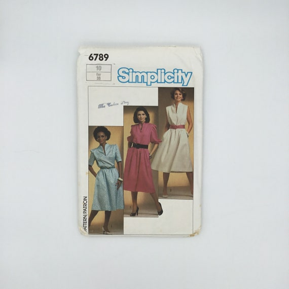 Simplicity 6789 (1985) Dress with Sleeve Variations - Size 10 Bust 32.5 - Vintage Uncut Sewing Pattern