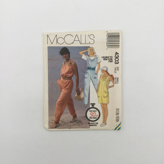 McCall's 4303 (1989) Jumpsuit with Length Variations - Size 6-8 Bust 30.5-31.5 - Vintage Uncut Sewing Pattern