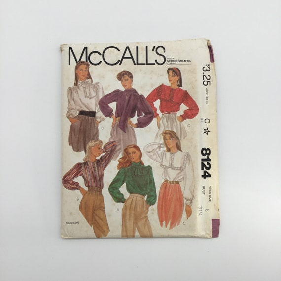McCall's 8124 (1982) Blouse with Collar Variations – Multiple Sizes Available - Vintage Uncut Sewing Pattern