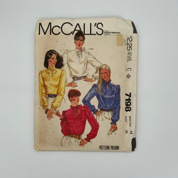 McCall's 7198 (1980) Blouse with Neckline Variations - Size 14 Bust 36 - Vintage Uncut Sewing Pattern