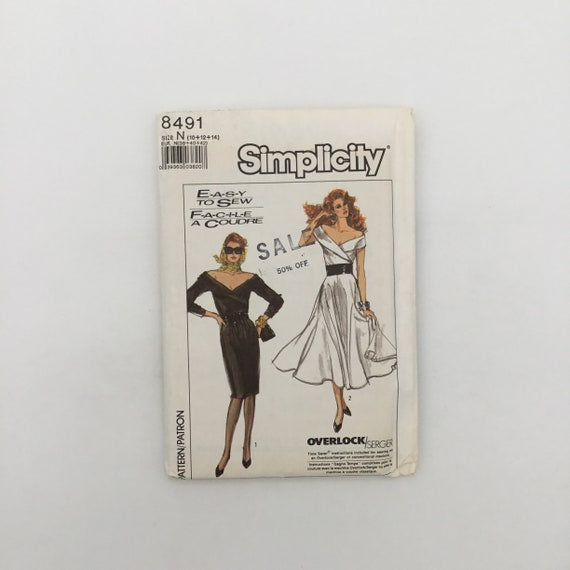 Simplicity 8491 (1988) Dress with Sleeve and Style Variations - Size 10-14 Bust 32.5-36 - Vintage Uncut Sewing Pattern