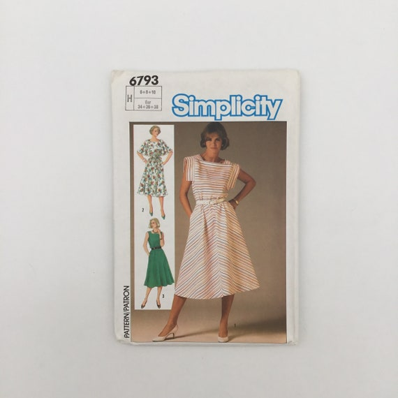 Simplicity 6793 (1985) Dress with Sleeve Variations - Size 6-10 Bust 30.5-32.5 - Vintage Uncut Sewing Pattern