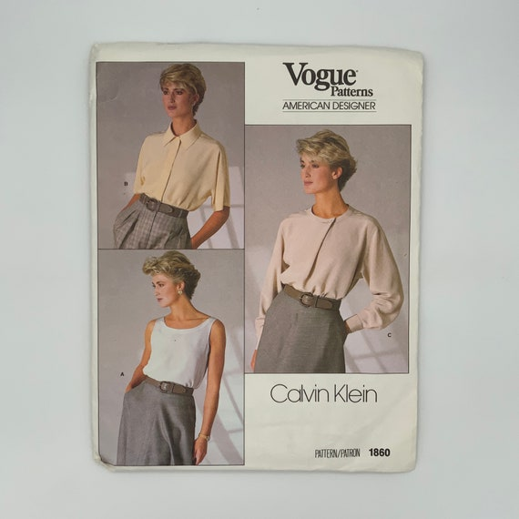 Vogue 1860 (1987) Calvin Klein Top and Blouse Sleeve and Style Variations - Size 10 Bust 32.5 - Vintage Uncut Sewing Pattern
