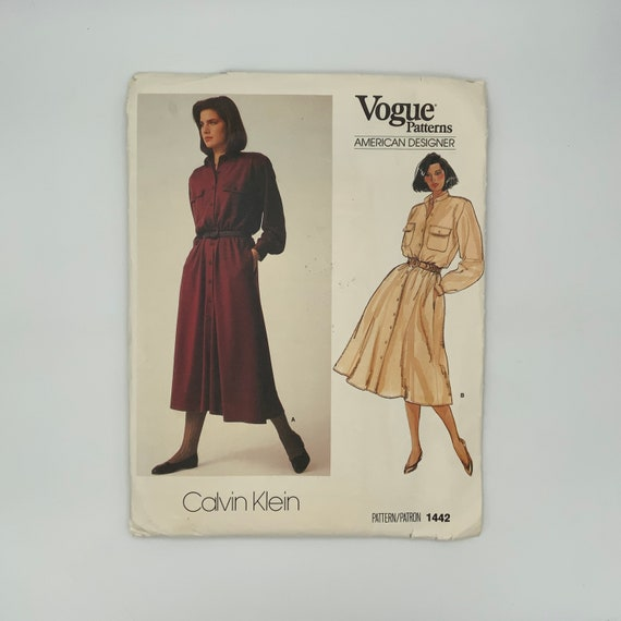 Vogue 1442 Calvin Klein Dress with Length Variations - Size 16 Bust 38 - Vintage Uncut Sewing Pattern