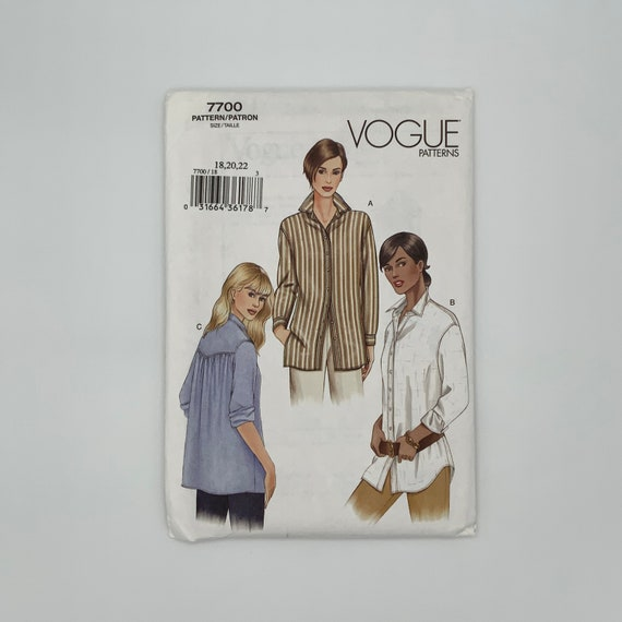 Vogue 7700 (2003) Shirt - Size 18-22 Bust 40-44 - Uncut Sewing Pattern