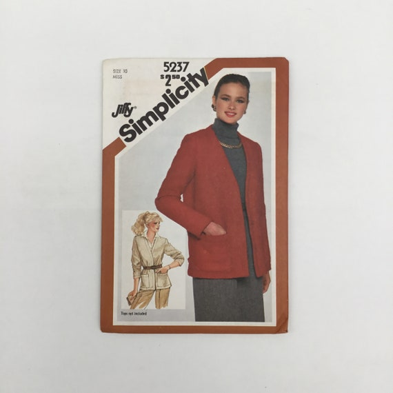 Simplicity 5237 (1981) Jacket - Multiple Sizes Available - Vintage Uncut Sewing Pattern