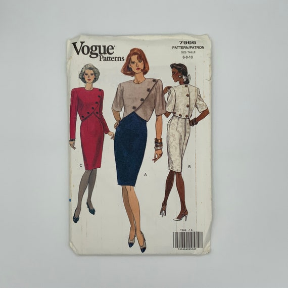 Vogue 7966 (1991) Dress with Sleeve Variations - Size 6-10 Bust 30.5-32.5 - Vintage Uncut Sewing Pattern