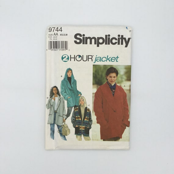 Simplicity 9744 (1995) Jacket with Style Variations - Size 6-16 Bust 30.5-38 - Vintage Uncut Sewing Pattern