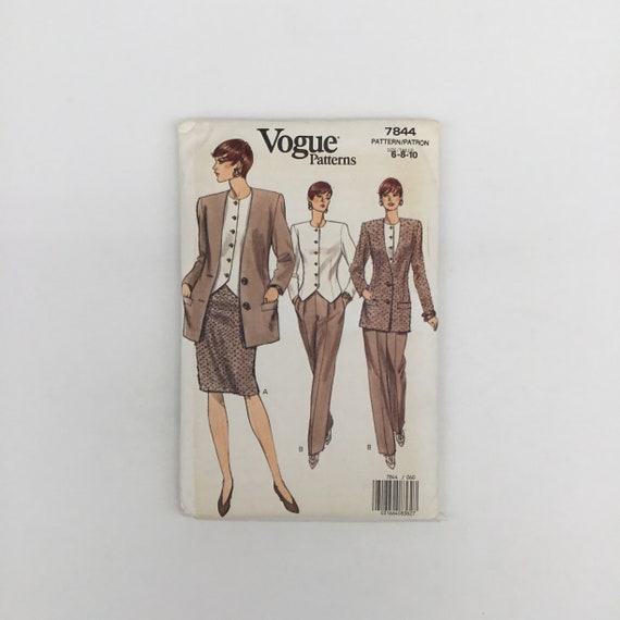 Vogue 7844 (1990) Jacket, Top, Skirt, and Pants - Size 6-10 Bust 30.5-32.5 - Vintage Uncut Sewing Pattern