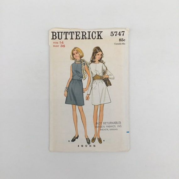 Butterick 5747 Dress with Sleeve Variations - Size 14 Bust 36 - Vintage Uncut Sewing Pattern