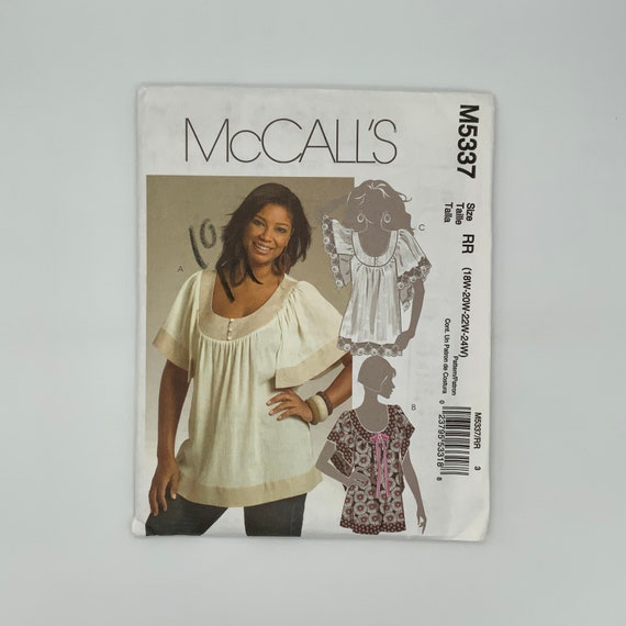 McCall's 5337 (2007) Top - Size 18-24 Bust 40-46 - Uncut Sewing Pattern