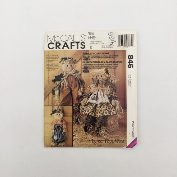 McCall's 846 (1993) Faye Wine Friendly Scarecrows - Vintage Uncut Sewing Pattern