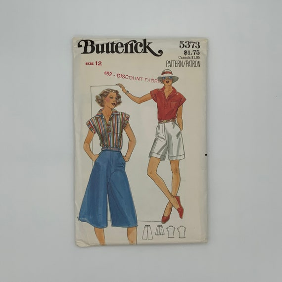 Butterick 5373 Shirt, Culottes, and Shorts - Size 12 Bust 34 - Vintage Uncut Sewing Pattern
