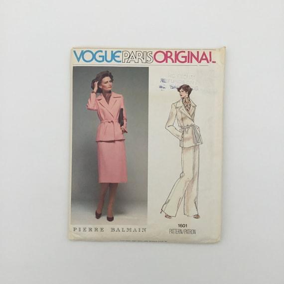 Vogue 1601 Pierre Balmain Jacket, Skirt, and Pants - Size 12 Bust 34 - Vintage Uncut Sewing Pattern