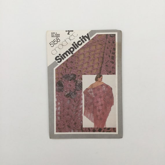 Simplicity 5158 (1981) Crochet Shawl - Vintage Uncut Sewing Pattern