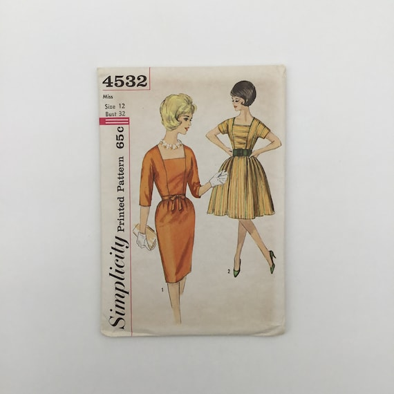 Simplicity 4532 Dress with Sleeve and Skirt Variations - Size 12 Bust 32 - Vintage Uncut Sewing Pattern