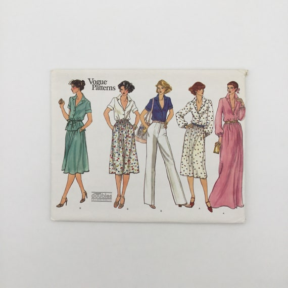 Vogue 1865 Shirt, Pants, and Skirt with Length Variations - Size 12-14 Bust 34-36 - Vintage Uncut Sewing Pattern