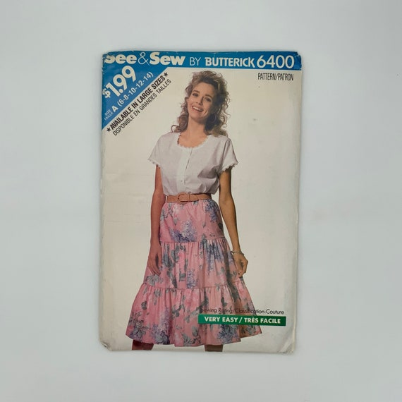 Butterick 6400 (1988) Top and Skirt - Size 6-14 Bust 30.5-36 - Vintage Uncut Sewing Pattern