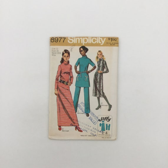 Simplicity 8977 (1970) Dress with Length Variations and Pants - Size 12 Bust 34 - Vintage Uncut Sewing Pattern