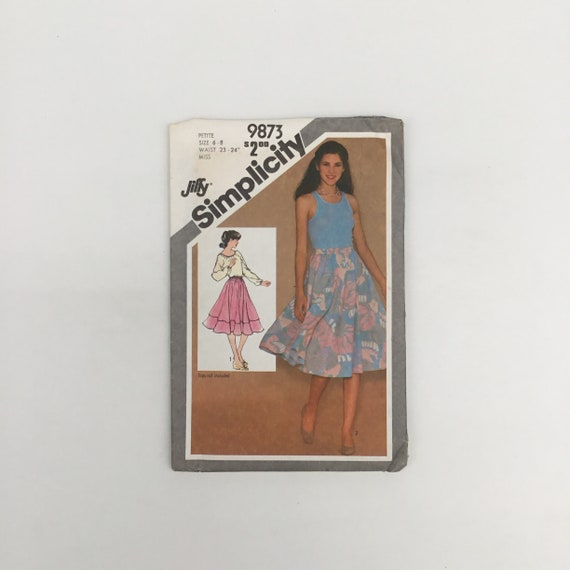 Simplicity 9873 (1980) Skirt with Style Variations - Size 6-8 - Vintage Uncut Sewing Pattern