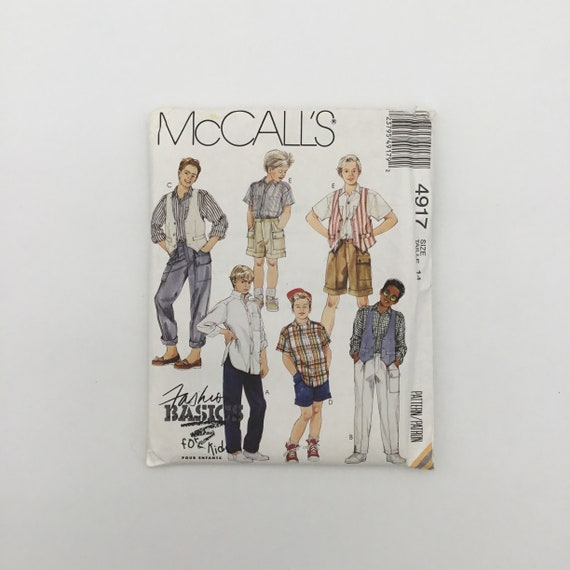 McCall's 4917 (1990) Vest, Shirt, Pants, and Shorts - Size 14 Chest 32 - Vintage Uncut Sewing Pattern