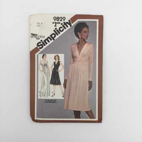 Simplicity 9829 (1980) Dress with Sleeve Variations - Multiple Sizes Available - Vintage Uncut Sewing Pattern