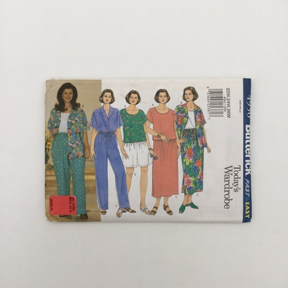 Butterick 1950 (2001) Shirt, Top, Skirt, Shorts, and Pants - Size 22-26 Bust 44-48 - Uncut Sewing Pattern