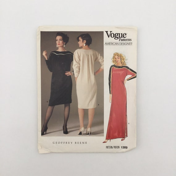 Vogue 1389 Geoffrey Beene Dress with Length Variations - Size 10 Bust 32.5 - Vintage Uncut Sewing Pattern