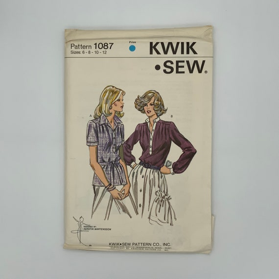 Kwik Sew 1087 Blouse with Neckline and Sleeve Variations - Size 6-12 Bust 32.5-37 - Vintage Uncut Sewing Pattern