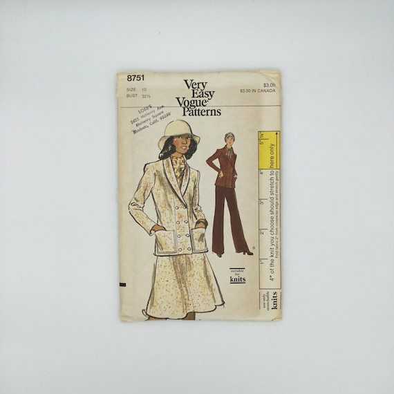 Vogue 8751 Jacket, Skirt, and Pants - Size 10 Bust 32.5 - Vintage Uncut Sewing Pattern