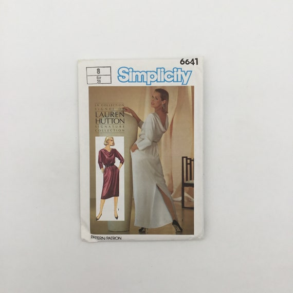 Simplicity 6641 (1984) Lauren Hutton Dress with Length Variations - Size 8 Bust 31.5 - Vintage Uncut Sewing Pattern