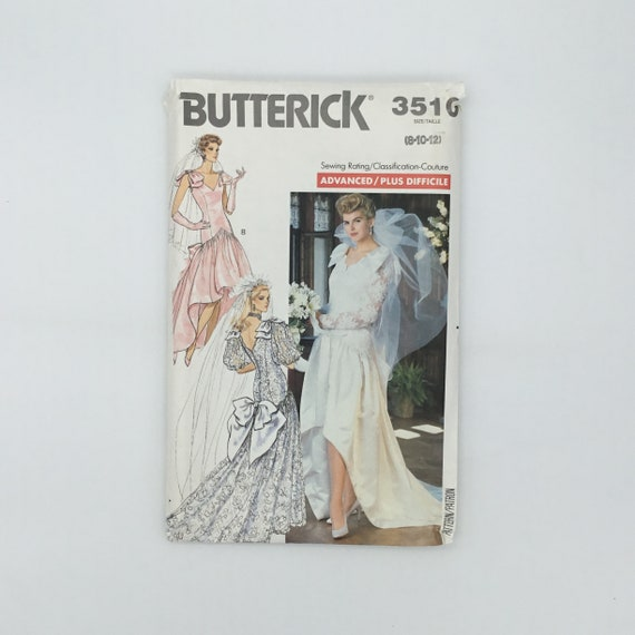 Butterick 3510 (1988) Wedding or Special Occasion Gown - Size 8-12 Bust 31.5-34 - Vintage Uncut Sewing Pattern
