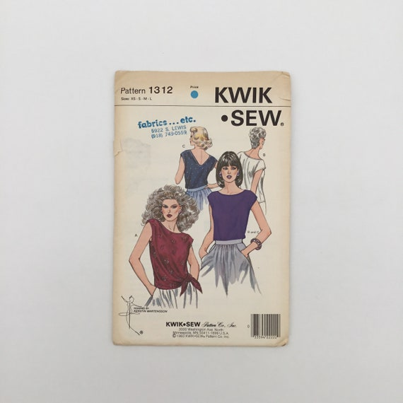 Kwik Sew 1312 (1983) Tops with Optional Ties - Size XS-L Bust 31.5-41.5 - Vintage Uncut Sewing Pattern