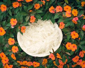 White Wooden Bowl with Orange Flowers Digital Backdrop