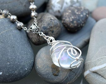 Angel Aura Rose Bead Silver Necklace