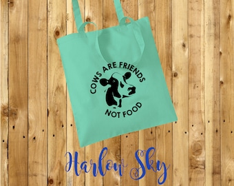 Cows Are Friends Not Food 100% Cotton Tote Bag Vegan Vegetarian Reuseable Shopper Birthday Christmas Friend Present
