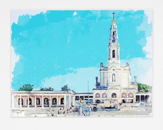 Portugal Sketch Fatima Watercolor In Of RL54Aj